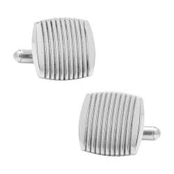 Men's Ox & Bull Trading Co. Stainless Steel Ribbed Square Cufflinks Silver