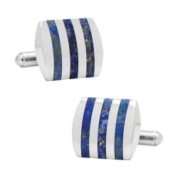 Men's Ox & Bull Trading Co. Stainless Steel Striped Lapis Cufflinks Blue