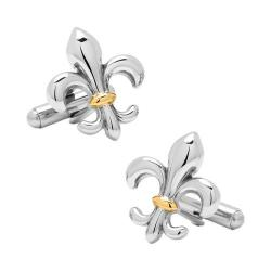 Men's Ox & Bull Trading Co. Stainless Steel Two-Tone Fleur De Lis Cufflinks Silver