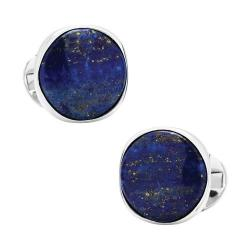Men's Ox & Bull Trading Co. Sterling Silver Classic Formal Lapis Cufflinks Blue
