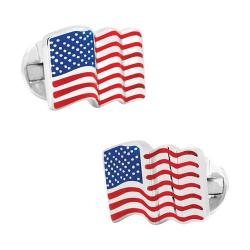 Men's Ox & Bull Trading Co. Sterling Silver Waving American Flag Cufflinks Multi