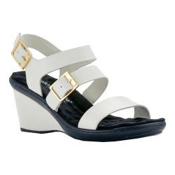 Women's Walking Cradles Lean Wedge Sandal White Nappa Leather