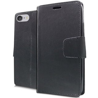 iPhone 7 Black TPU/PU Brushed Wallet Pouch Phone Case