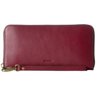 Fossil Emma Wine Leather RFID Large Zip Clutch Wallet