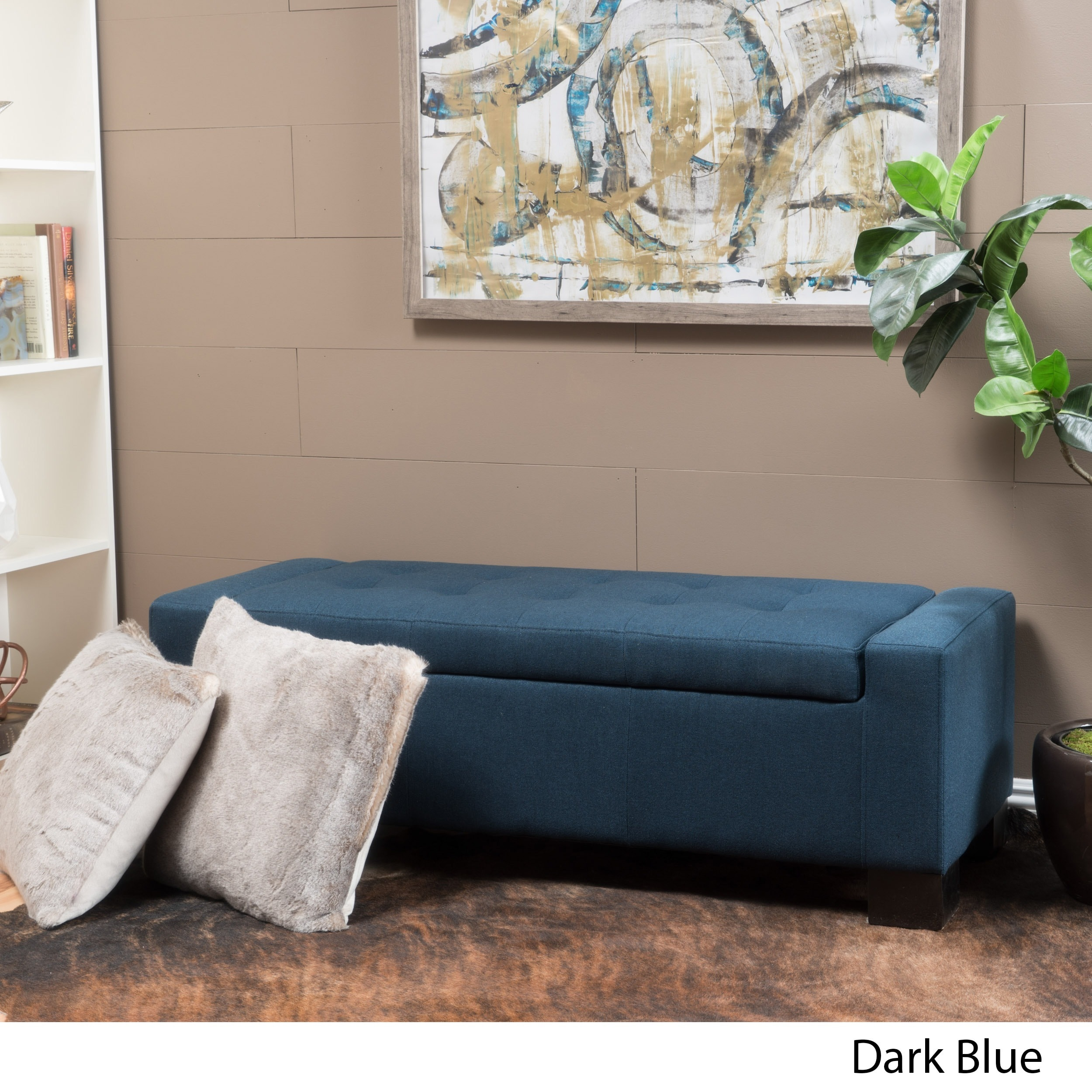 Excellent Details About Lawton Fabric Storage Ottoman Bench By Christopher Knight Large Caraccident5 Cool Chair Designs And Ideas Caraccident5Info