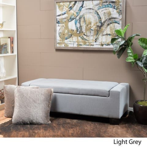 Lawton Fabric Storage Ottoman Bench by Christopher Knight Home