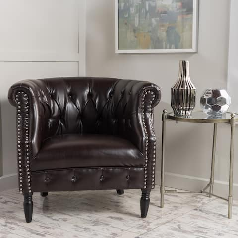 Akira Tufted Bonded Leather Club Chair by Christopher Knight Home