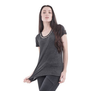 Bluberry Women's Dark Grey Short-sleeve Embellished Top