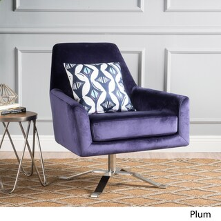 Ailis Velvet Fabric Swivel Club Chair by Christopher Knight Home