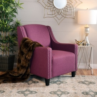 Elysabeth Studded Fabric Club Chair by Christopher Knight Home