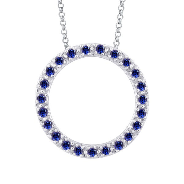 Shop 10k white gold 13ct tdw blue sapphire circle pendant with 10k white gold 13ct tdw blue sapphire circle pendant with cable chain mozeypictures Image collections