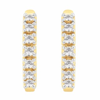 14K Yellow Gold 1/4ct TDW Diamond Hoop Earrings