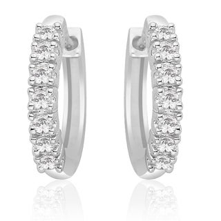 14K White Gold 1/4ct TDW Diamond Hoop Earrings