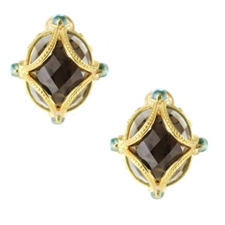 One-of-a-kind Michael Valitutti Palladium Silver Smokey Quartz and Swiss Blue Topaz Stud Earrings