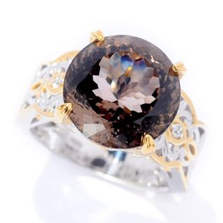 One-of-a-kind Michael Valitutti Palladium Silver Smoky Quartz and White Zircon Ring
