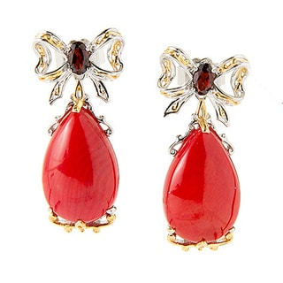 One-of-a-kind Michael Valitutti Palladium Silver Bow with Red Bamboo Coral and Garnet Earrings