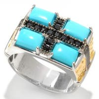 Michael Valitutti Palladium Silver Sleeping Beauty Turquoise and Black Spinel Men's Ring