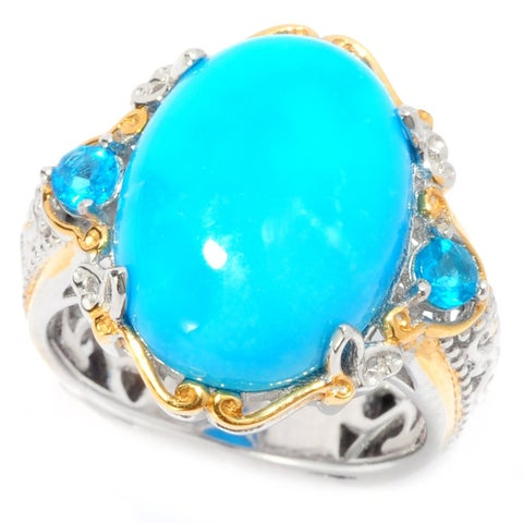Michael Valitutti Palladium Silver Sleeping Beauty Turquoise and Neon Apatite Cocktail Ring
