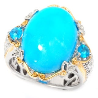 Michael Valitutti Palladium Silver Sleeping Beauty Turquoise and Neon Apatite Cocktail Ring|https://ak1.ostkcdn.com/images/products/13304559/P20012212.jpg?_ostk_perf_=percv&impolicy=medium