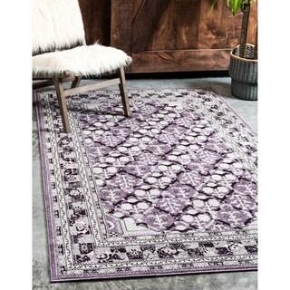 La Jolla Traditional Purple/Violet/Beige Polypropylene Rectangular Rug (4' x 5'6)