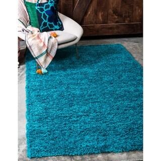 Turquoise Polypropylene Solid Shag Rug (4' x 6')