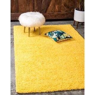 Tuscan Sun Yellow Solid Shag Rug (4' x 6')