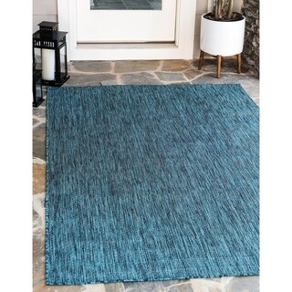 Solid Teal Outdoor Rug (4' x 6')