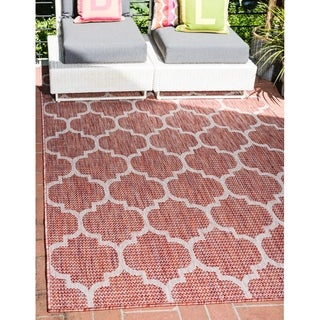 Beige/Rust Red Polypropylene Outdoor Trellis Rug (4' x 6')