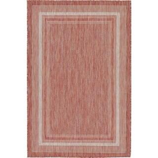 Rust Red Polypropylene Outdoor Rug (4' x 6')