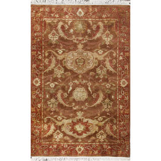 ABC Brown Wool Oushak Hand-knotted Rug (4' x 6')