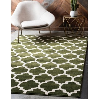 Dark Green Polypropylene Trellis Area Rug (3'2 x 5'2)