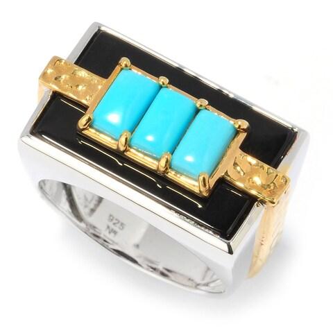 Michael Valitutti Men's Palladium Silver Turquoise and Black Onyx Sleeping Beauty Ring