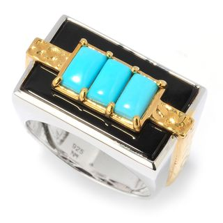 Michael Valitutti Men's Palladium Silver Turquoise and Black Onyx Sleeping Beauty Ring