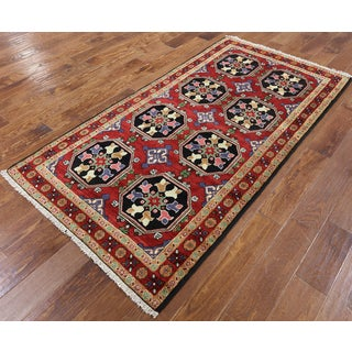 Hand-knotted Oriental Persian Balouch Red Wool Rug (3'5 x 6'7)