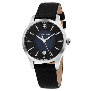 Swiss Army Women's V241754 'Alliance' Black Mother of Pearl Dial Black Leather Strap Swiss Quartz Watch