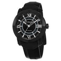 Montegrappa Italia Men's IDNLWSBK 'Skeleton Date' Black Dial Black Rubber Strap Limited Edition Swiss Automatic Watch