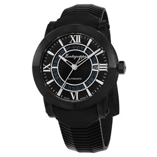 Montegrappa Italia Men's 'Skeleton Date' Black Dial Black Rubber Strap Limited Edition Swiss Automatic Watch