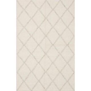 Ecarpetgallery Diamond Ivory Wool Rug (5'0 x 8'0)