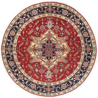 Ecarpetgallery Serapi Heritage Blue, Red Wool Rug (8'0 x 8'0)