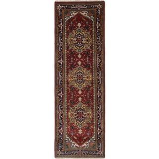 Ecarpetgallery Serapi Heritage Blue, Red Wool Rug (3'1 x 9'10)