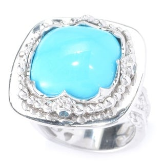 Michael Valitutti White Palladium Silver Sleeping Beauty Turquoise and London Blue Topaz Cocktail Ring