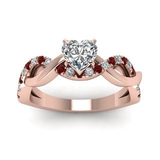 14k Rose Gold GIA-certified 3/4ct TDW Heart-cut Diamond and Ruby Engagement Ring (E-F, SI1-SI2)