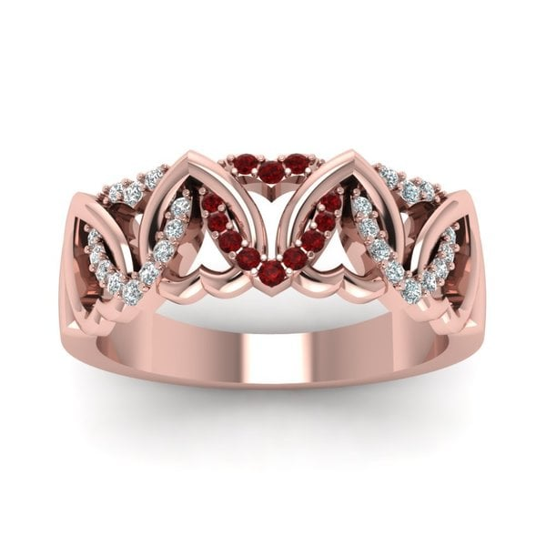 14k Rose Gold 1/3ct TDW Round-cut Diamond and Ruby Heart Design Wedding Band