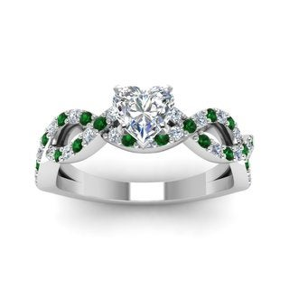14k White Gold GIA-certified 1ct TDW Diamond and Emerald Engagement Ring (E-F, SI1-SI2)