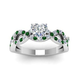 14k White Gold GIA-certified 1ct TDW Diamond and Emerald Engagement Ring
