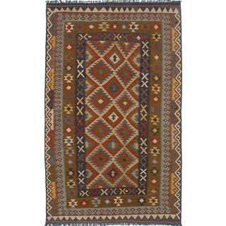 Ecarpetgallery Sivas Brown  Wool Kilim (5'0 x 8'1)