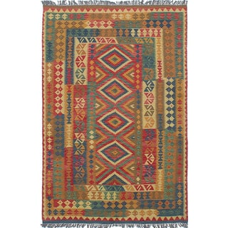 Ecarpetgallery Sivas Brown, Red Wool Kilim (5'2 x 7'10)