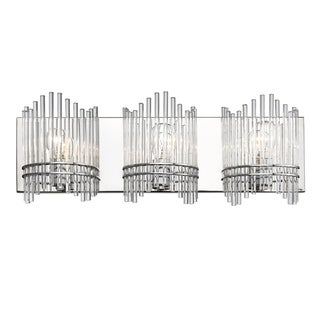 Golden Lighting 'Luciano' Chrome-finish 3-light Bath Vanity With Clear Crystal Rods