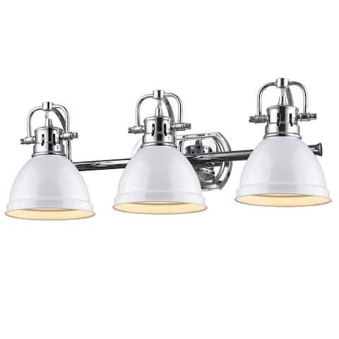 Golden Lighting Duncan Chrome 3-light Bath Vanity with White Shades