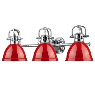 Golden Lighting Duncan Chrome 3-light Bath Vanity With Red Shades